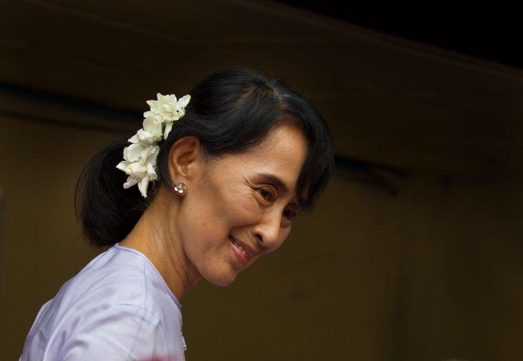 Aung San Suu Kyi in 2012 in Rangoon, Burma.