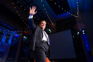 New Jersey Republican Governor Chris Christie celebrates his reelection in Asbury Park, NJ, Nov. 5, 2013.
