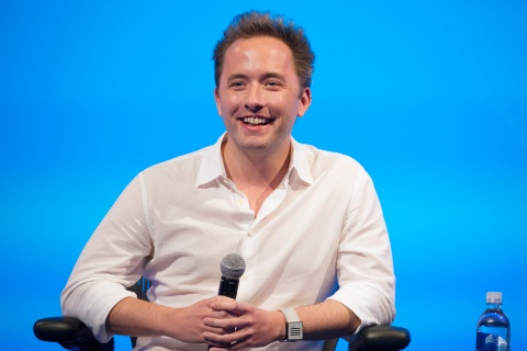 Drew Houston, chief executive officer and co-founder of Dropbox Inc., during the DreamForce Conference in San Francisco, on Nov. 18, 2013.