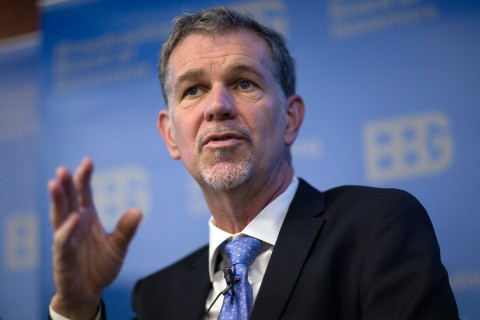 Reed Hastings, chairman, president and chief executive officer of Netflix Inc., speaks during a Broadcasting Board of Governors (BBG) panel discussion in Washington, D.C., on Dec. 18, 2013.