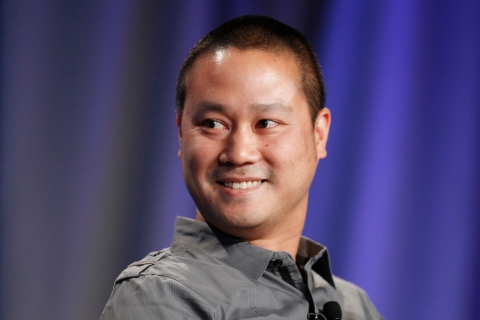 Tony Hsieh, CEO of online retailer Zappos, takes part in a panel discussion at the Milken Institute Global Conference in Beverly Hills, Calif., on May 1, 2012.